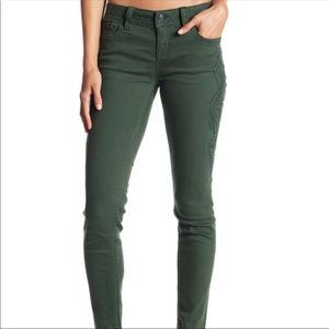 Miss Me olive skinny jeans with embroidered detail